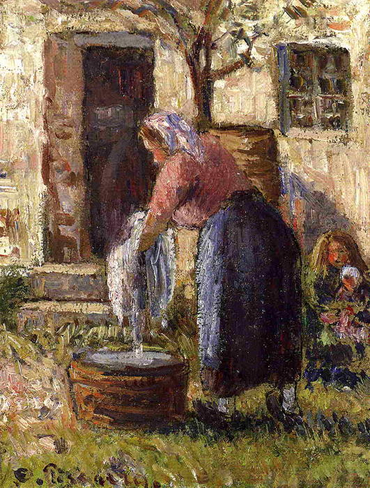 The Laundry Woman, Oil On Canvas by Camille Pissarro (1830-1903, United States)