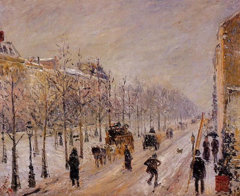 The Outer Boulevards, Snow Effect, 1879 by Camille Pissarro (1830-1903, United States) | Oil Painting | WahooArt.com