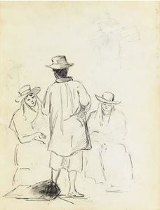 Camille Pissarro - Two seated women conversing with a man seen from behind, with a study of a man