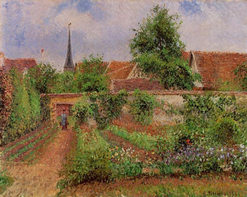 Vegetable Garden in Eragny, Overcast Sky, Morning, 1901 by Camille Pissarro (1830-1903, United States) | Museum Art Reproductions Camille Pissarro | WahooArt.com