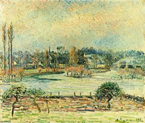 Camille Pissarro - View of Bazincourt, Flood, Morning Effect