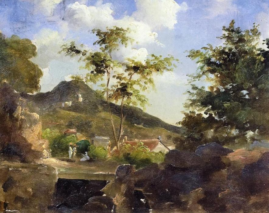 Village at the Foot of a Hill in Saint Thomas, Antilles, 1855 by Camille Pissarro (1830-1903, United States) | Museum Quality Reproductions | WahooArt.com