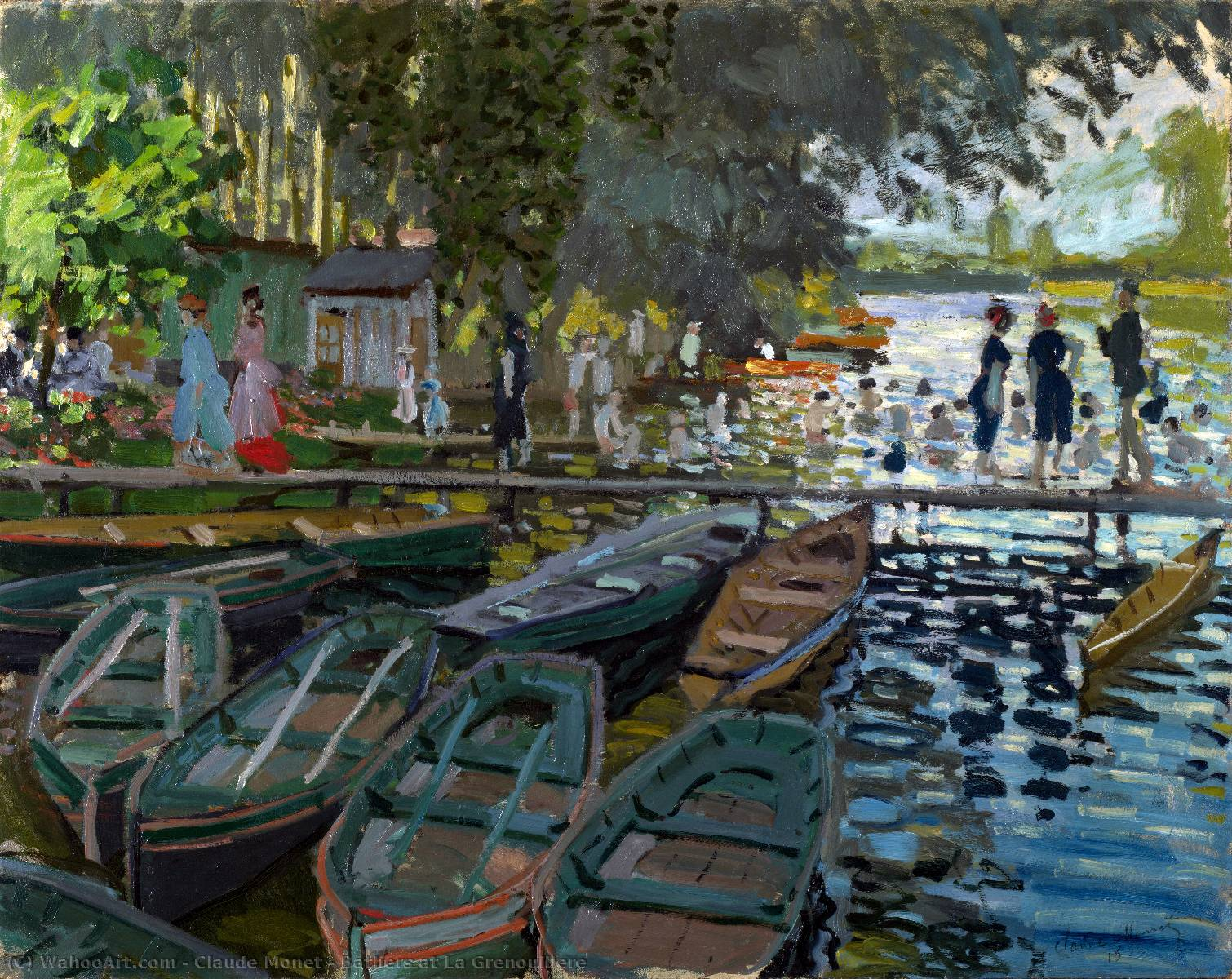 Bathers at La Grenouillere, 1869 by Claude Monet (1840-1926, France) | Oil Painting | WahooArt.com