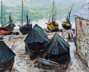 Claude Monet - Boats on the Beach at Etretat 1
