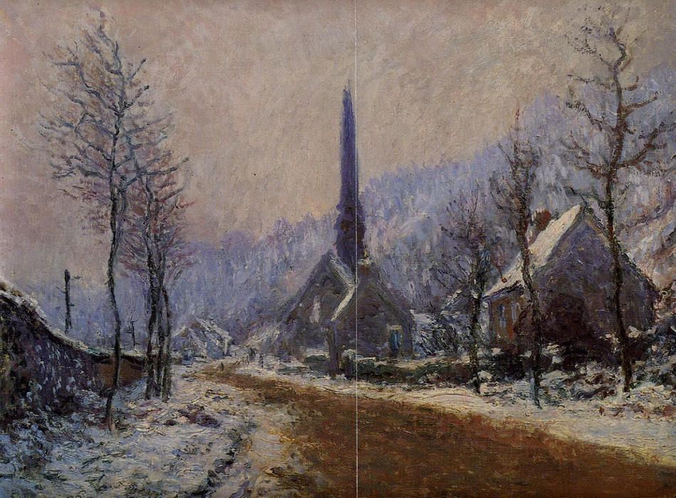 Order Painting Copy : Church at Jeufosse, Snowy Weather, 1893 by Claude Monet (1840-1926, France) | WahooArt.com
