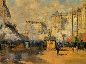 Claude Monet - Exterior of Saint-Lazare Station, Sunlight Effect