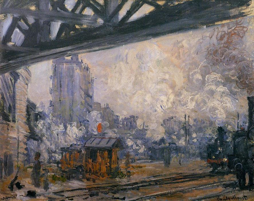 Exterior View of the Saint-Lazare Station by Claude Monet (1840-1926, France) | Paintings Reproductions Claude Monet | WahooArt.com