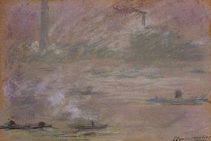 Claude Monet - London, Boats on the Thames