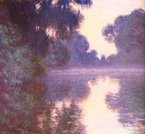 Claude Monet - Misty morning on the Seine blue