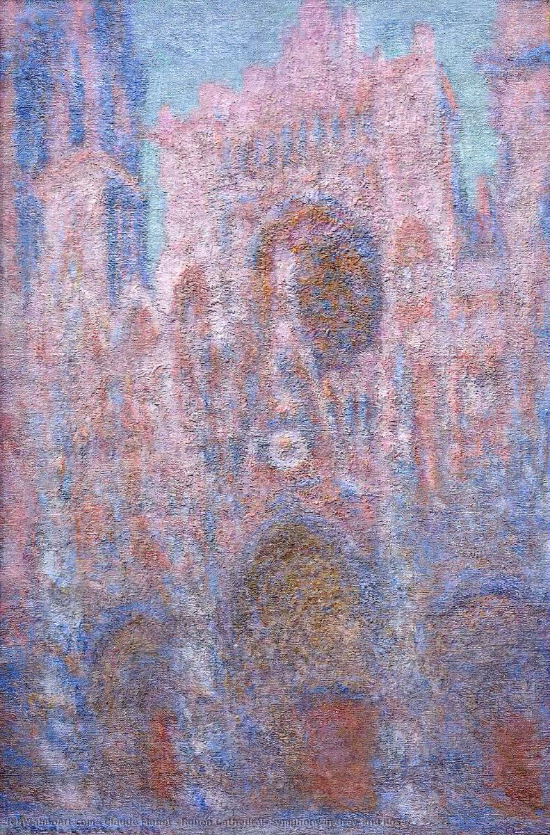 Rouen Cathedral, Symphony in Grey and Rose, 1894 by Claude Monet (1840-1926, France) | Art Reproduction | WahooArt.com