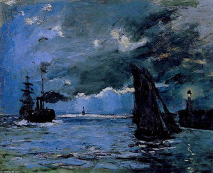 Claude Monet - Seascape, Night Effect