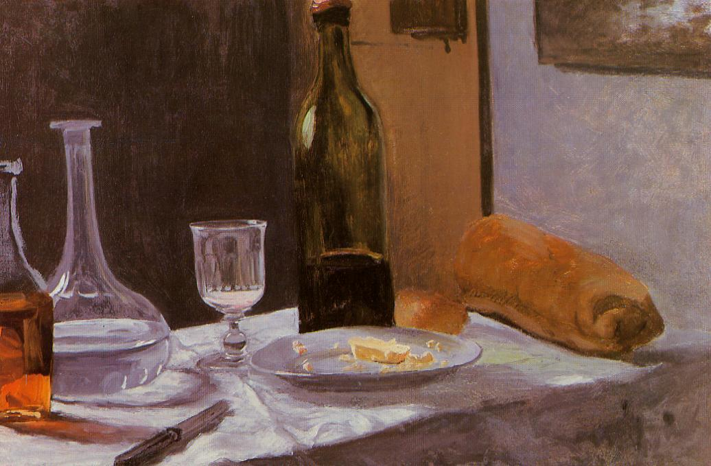 Still Life with Bottle, Carafe, Bread and Wine by Claude Monet (1840-1926, France) | Art Reproductions Claude Monet | WahooArt.com