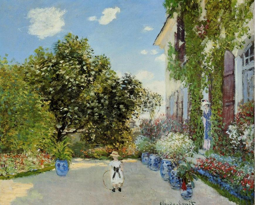 Buy Museum Art Reproductions | The Artist`s House at Argenteuil by Claude Monet (1840-1926, France) | WahooArt.com