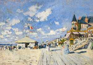 Claude Monet - The Boardwalk on the Beach at Trouville