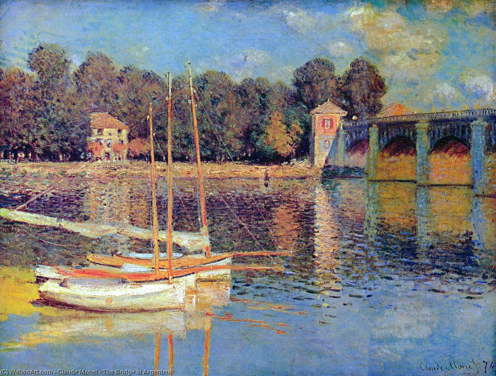 Buy Museum Art Reproductions | The Bridge at Argenteuil by Claude Monet (1840-1926, France) | WahooArt.com