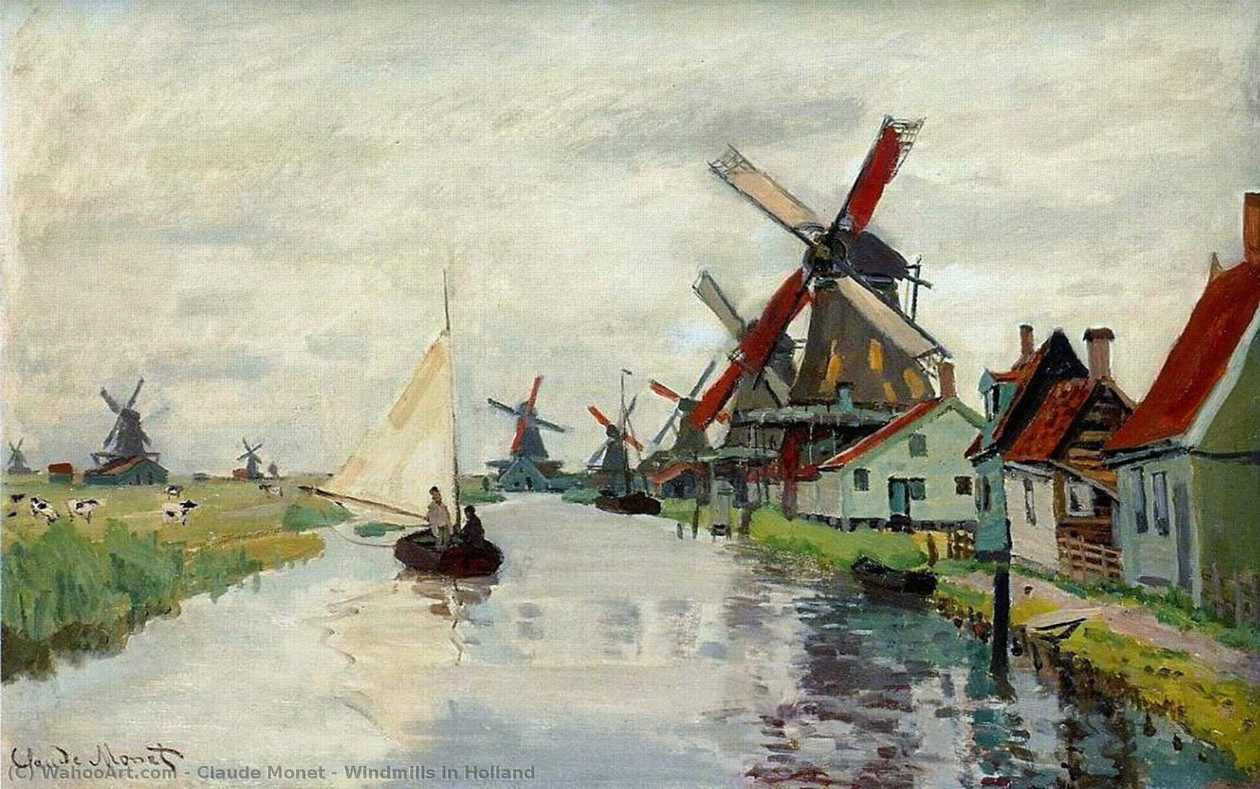 Windmills in Holland, 1871 by Claude Monet (1840-1926, France) | Museum Quality Copies Claude Monet | WahooArt.com