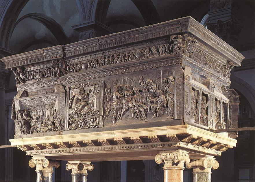 Pulpit on the right, Relief by Donatello (1386-1466, Italy)
