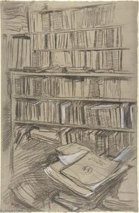 Edgar Degas - Bookshelves, Study for --Edmond Duranty--