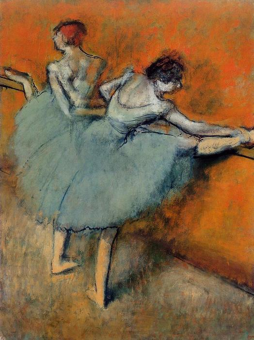 Dancers at the Barre 1, Oil by Edgar Degas (1834-1917, France)