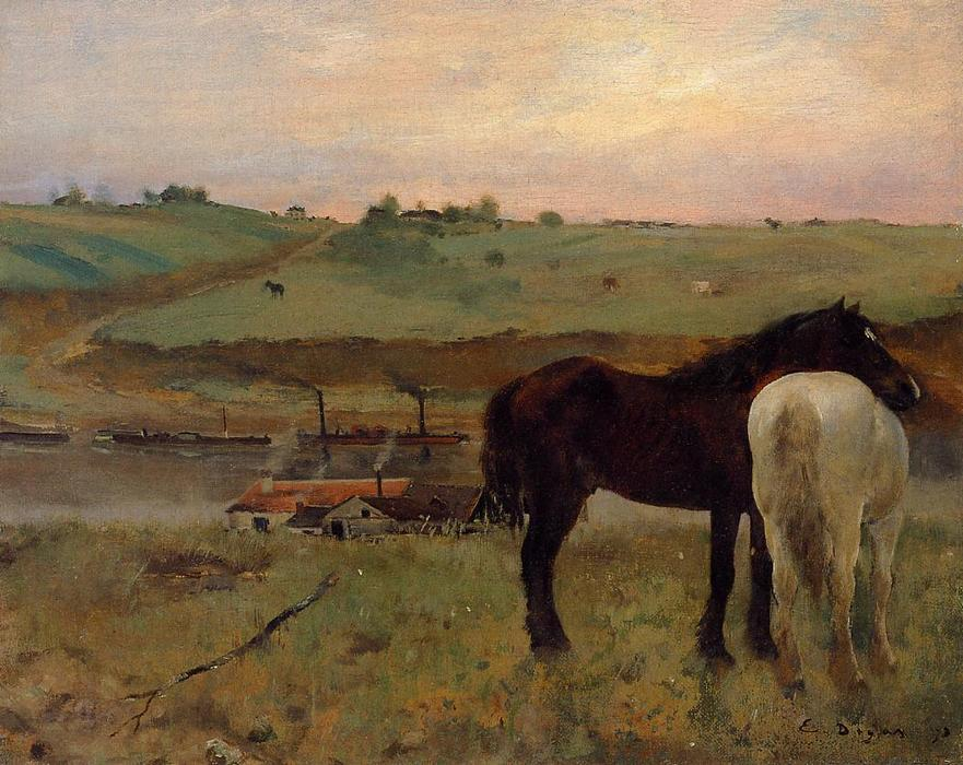 Horses in a Meadow, Oil On Canvas by Edgar Degas (1834-1917, France)