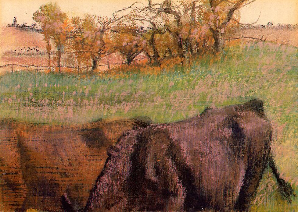 Landscape. Cows in the Foreground, 1893 by Edgar Degas (1834-1917, France) | Paintings Reproductions Edgar Degas | WahooArt.com