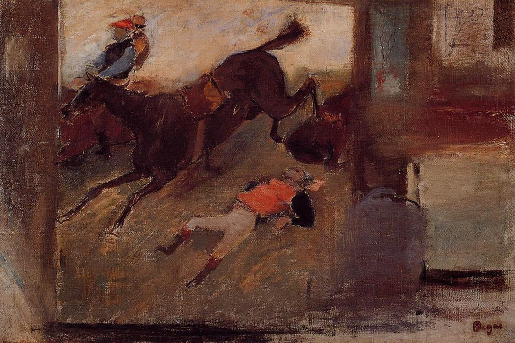 Studio Interior with `The Steeplechase`, 1881 by Edgar Degas (1834-1917, France) | Oil Painting | WahooArt.com