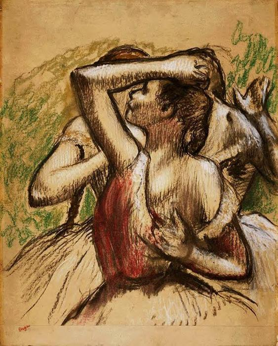Three Ballet Dancers, One with Dark Crimson Waist, Pastel by Edgar Degas (1834-1917, France)
