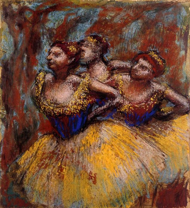 Three Dancers. Yellow Skirts, Blue Blouses, Pastel by Edgar Degas (1834-1917, France)