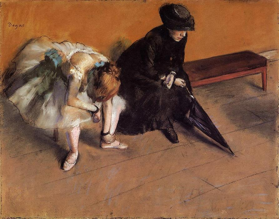 Waiting by Edgar Degas (1834-1917, France) | Reproductions Edgar Degas | WahooArt.com