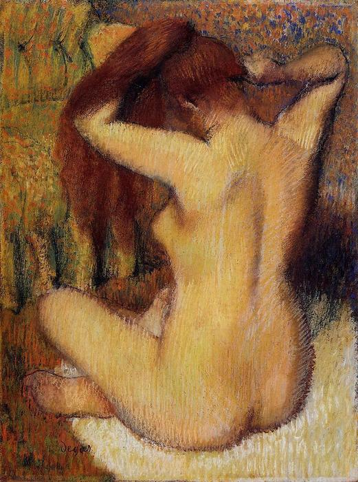 Woman Combing Her Hair, Pastel by Edgar Degas (1834-1917, France)