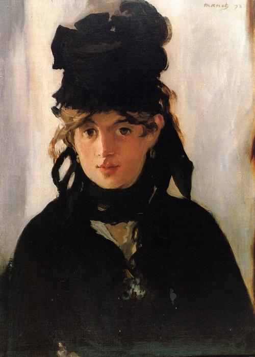 Berthe Morisot with a bouquet of violets, Oil On Canvas by Edouard Manet (1832-1883, France)