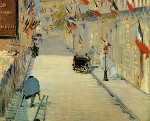 Edouard Manet - Rue Mosnier Decorated with Flags, with a Man on Crutches
