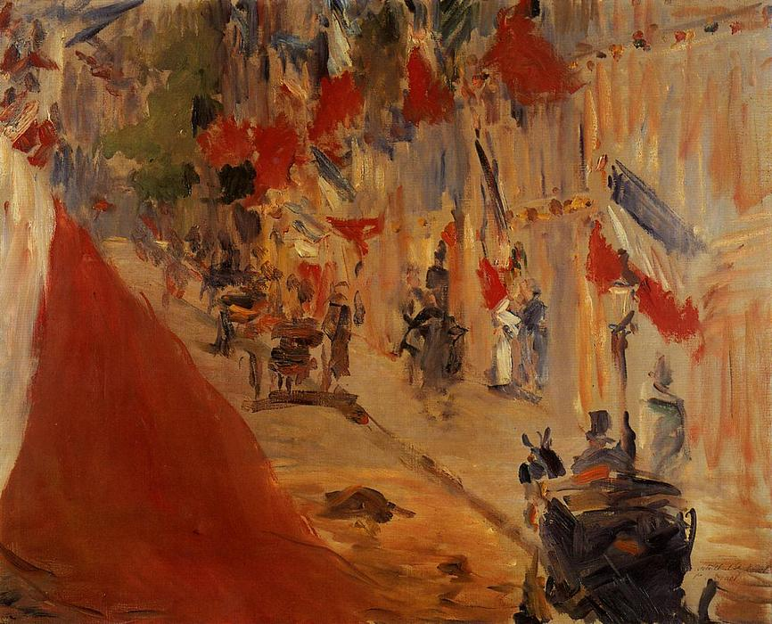 Rue Mosnier decorated with Flags, Oil On Canvas by Edouard Manet (1832-1883, France)