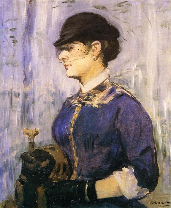 Young Woman in a Round Hat, Oil On Canvas by Edouard Manet (1832-1883, France)