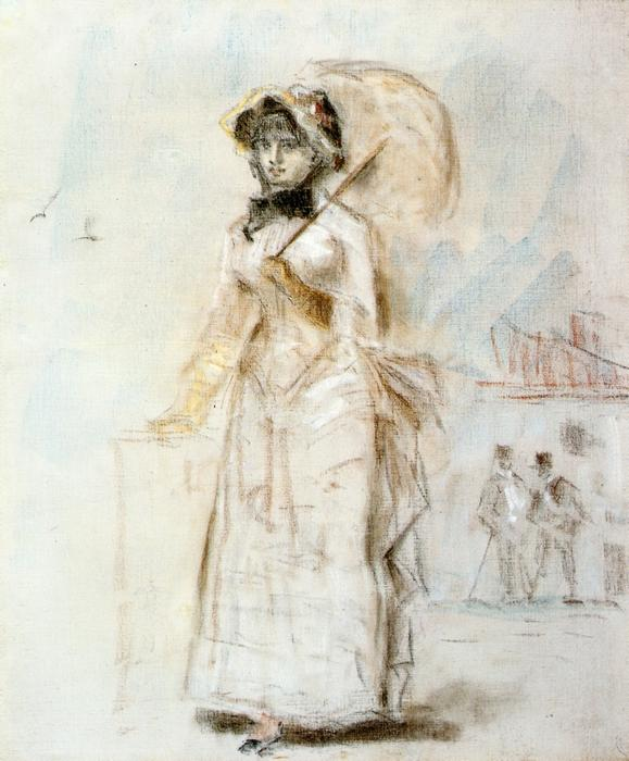 Young Woman Taking a Walk, Holding an Open Umbrella, Drawing by Edouard Manet (1832-1883, France)