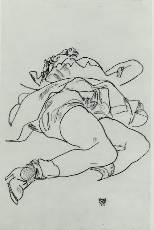Reclining Woman with Raised Skirt, Drawing by Egon Schiele (1890-1918, Austria)