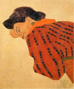 Egon Schiele - Reclining Woman with Red Blouse