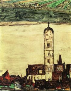 Egon Schiele - Stein on the Danube, Seen from the Kreuzberg (small version)