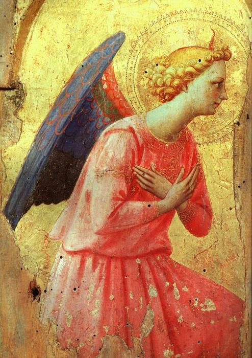 Angel in adoration, Tempera by Fra Angelico (1395-1455, Italy)
