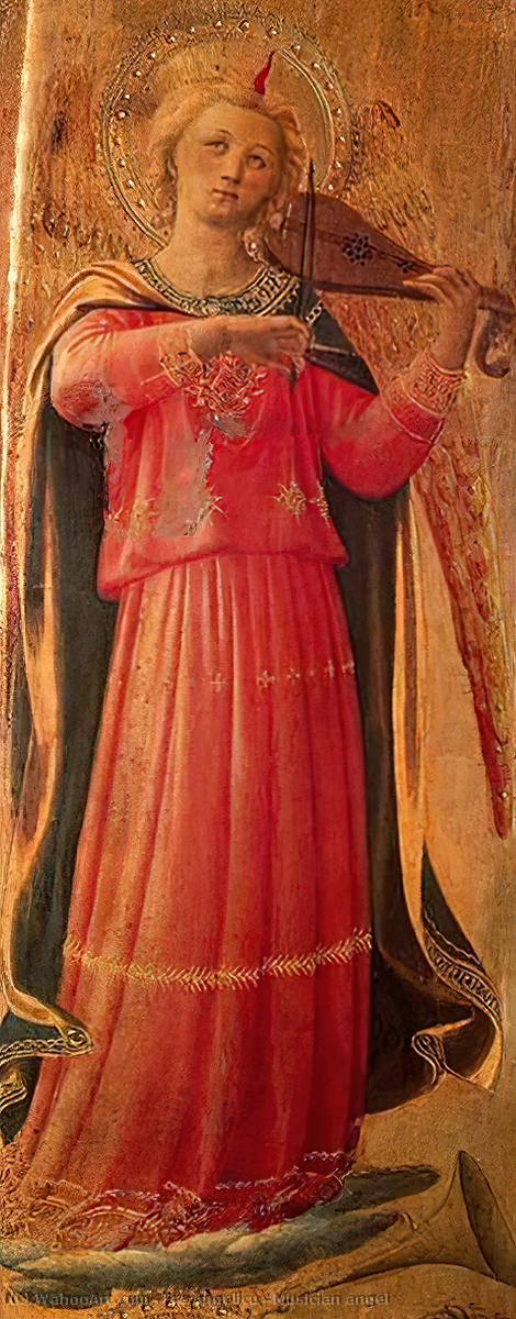 Musician angel, Tempera by Fra Angelico  (order Fine Art painting copy Fra Angelico)