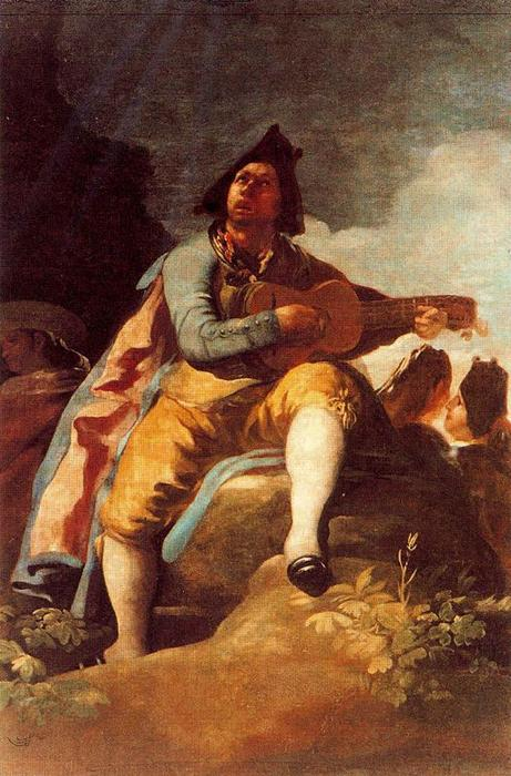 A Majo with a guitar by Francisco De Goya (1746-1828, Spain) | Art Reproduction | WahooArt.com