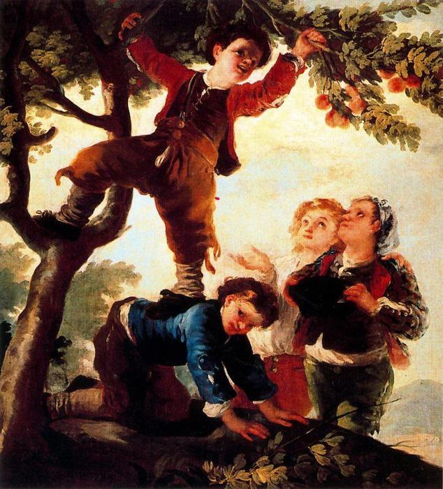 Boys picking fruit by Francisco De Goya (1746-1828, Spain) | Paintings Reproductions Francisco De Goya | WahooArt.com