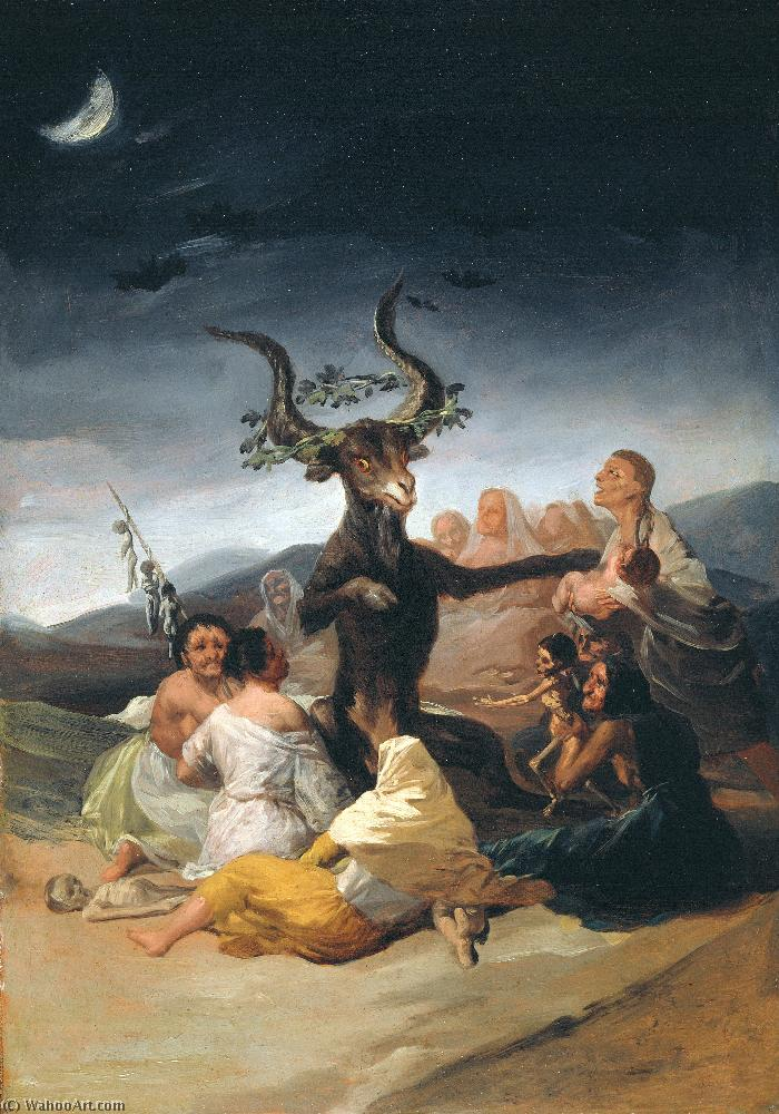 Witches' sabbath 1, Oil by Francisco De Goya (1746-1828, Spain)