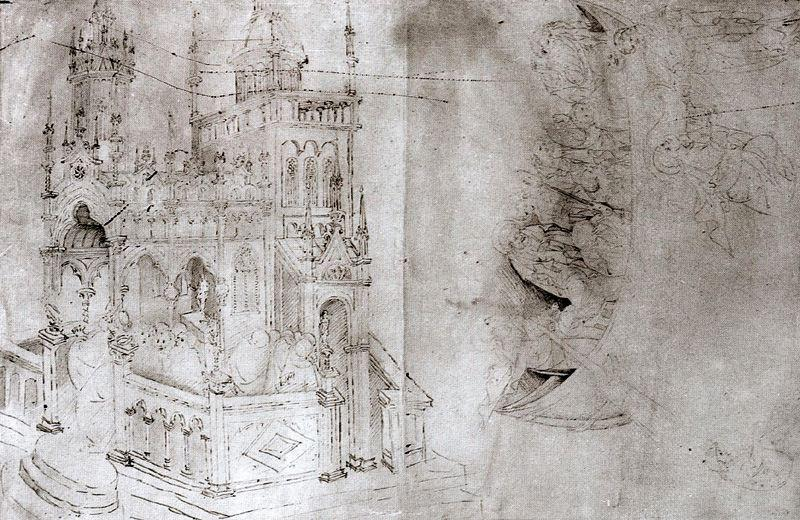 Drawings after one of Altichiero`s frescoes in the Oratorio di San Giorgio by Gentile Da Fabriano (1370-1427, Italy) | Oil Painting | WahooArt.com