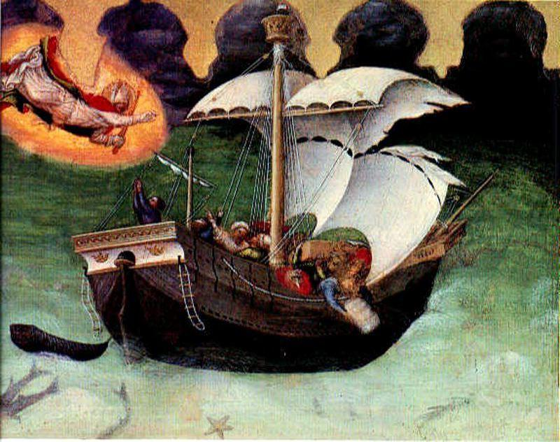 Quaratesi Altarpiece. St. Nicholas saves a storm-tossed ship, Oil by Gentile Da Fabriano (1370-1427, Italy)