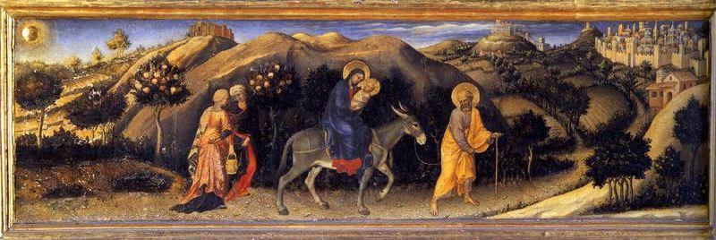 Rest during the Flight into Egypt, Oil by Gentile Da Fabriano (1370-1427, Italy)