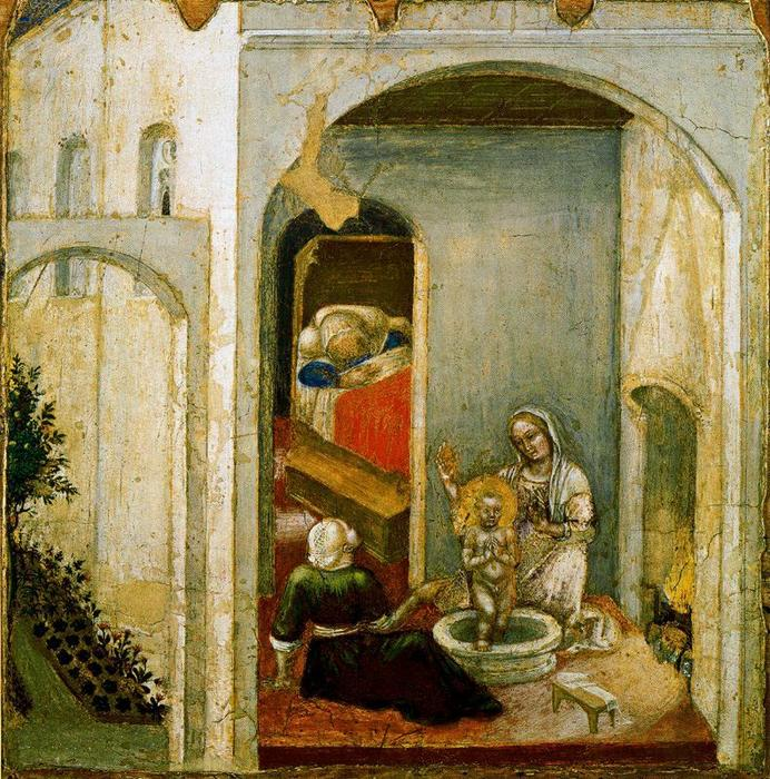 Scenes from the Legend of Saint Nicholas of Bari. The Birth of the Saint by Gentile Da Fabriano (1370-1427, Italy) | Museum Quality Copies Gentile Da Fabriano | WahooArt.com
