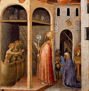 Gentile Da Fabriano - Scenes from the Legend of Saint Nicholas of Bari. The Saint Raises Three Children Placed in Brine