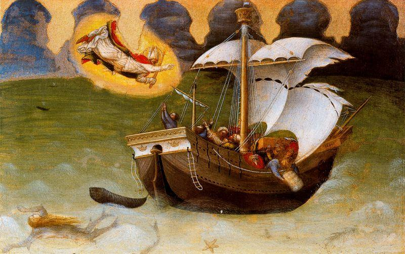 Scenes from the Legend of Saint Nicholas of Bari. The Saint Saves a Ship from Shipwreck, Oil by Gentile Da Fabriano (1370-1427, Italy)