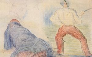 Georges Pierre Seurat - Soldier Fencing, Another Reclining